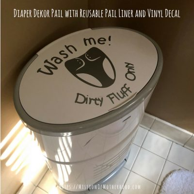 diaper dekor pail with vinyl decal